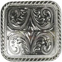 "Western Equestrian Cowboy Decor Bright Silver Headstall 2 1/4"" Square Concho"