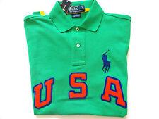 New Ralph Lauren Polo Pony Logo Custom Fit U.S.A. Green Summer Shirt M