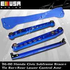 EMUSA 1996-2000 Honda Civic Rear Lower Control Arm Subframe Brace Tie Bar BLUE