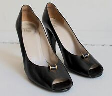 1950's True Vintage Christian Dior Black High Heels Peep Toe Uk 6/7 Narrow2A