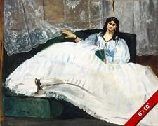 WOMAN IN LARGE WHITE DRESS WITH FAN 1800'S MANET PAINTING ART REAL CANVAS PRINT