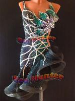 L2463 Ballroom Latin Ramba Cha Cha Samba US 2 Dance Dress Black Competition