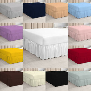 Plain Dyed Deep Fitted Valance Sheets Polycotton Sheet Single Double King Size