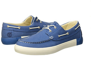TIMBERLAND TB0A1AYVA44 2-EYE BOAT OXFORD Mn's (M) Medium Blue Canvas Boat Shoes
