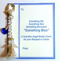 Something Blue Guardian Angel Bride & Heart Wedding Charm for Garter or Bouquet