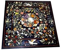 24 Inches Square Shape Center Table Top Marble Coffee Table with Marquetry Art