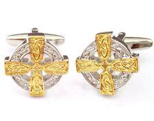 Cufflinks - Celtic Cross Intricate Design Cufflink Set in Two Tone Silver Gold