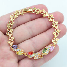 18K Gold Filled Lady Mystical Multi-Color Marquise Topaz Gems Bracelet Jewelry