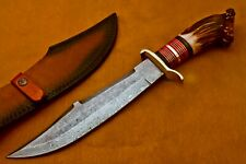 HANDMADE DAMASCUS STEEL HUNTING KNIFE WITH STAG WOOD AND BRASS HANDLE.