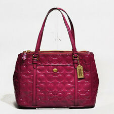 NWT Coach Peyton Op Art Embossed Patent Double Zip Carryall 24607 Passion Berry