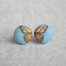 Monarch Butterfly Fabric Button Earrings