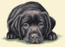BLACK LABRADOR RETRIEVER puppy dog Counted cross stitch kit + all materials