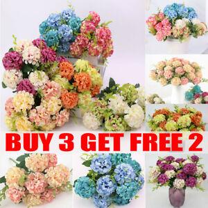 10 Heads Artificial Silk Hydrangea Fake Flowers Bouquet Bunch Party Home Decor
