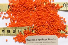 8/0 Vintage French Opaque Bright Orange Glass Seed Beads Crafts Jewelry 1 oz