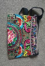 Medium Colourful Floral Embroidery Shoulder Tribal Bag Hmong Thai Style Handbag