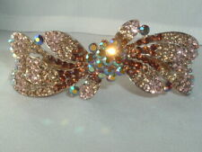 VTG LIGHT & AMBER BROWN AURORA BOREALIS RHINESTONE HAIR BARRETTE UP DO ACCESSORY