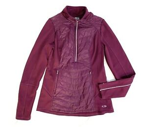 Champion Athletic Jacket Womens Size Medium Purple 1/4 Zip Pullover Jacket