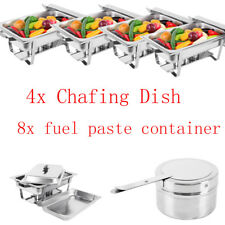 4 PCS 9L Chafing Dish Sets Buffet Caterings Stainless Steel Folding Food Warmer