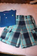 Arizona Plaid Cargo Shorts 3T And Izod Bright Blue Polo Shirt 4T Euc