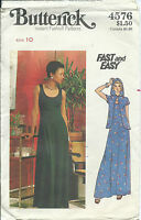 B 4576 sewing pattern 70's Hooded Evening JACKET & DRESS sew retro chic! size 10