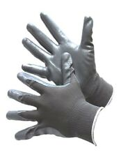 6 PAIRS GRAY NYLON SHELL WITH GRAY NITRILE COATING CHEMICAL RESISTANT WORK GLOVE