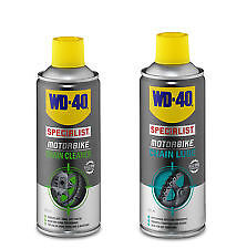 WD40 MOTORCYCLE CHAIN LUBE 400ML and CHAIN CLEANER 400ML