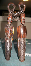 African Folk Art Carved Wood Wedding Marriage Man Woman Chain 17.5""