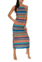 Vestito Lungo  Donna F**K Effek F2B258XX Abito Righe Multi Color Leggero Nuovo