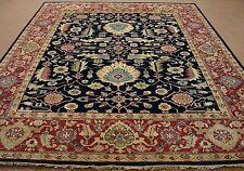 9 x 12 HERIZ Tribal Hand Knotted Wool NAVY RUST NEW Oriental Rug Carpet