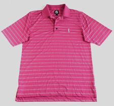 Footjoy FJ Men's Medium Polo Pink Striped Golf Short Sleeve Shirt Beacon Hill CC