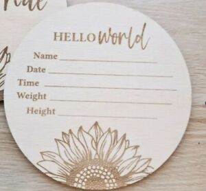 Wooden Sunflower Birth Announcement Baby Name Disc Floral Introducing Bubba 4