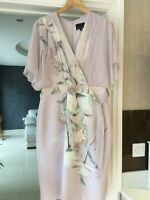 Phase Eight Dress size 14 dusky pink tie waist angel type sleeves