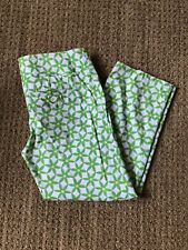 Lilly Pulitzer Crop Pants Green and White Flower Print