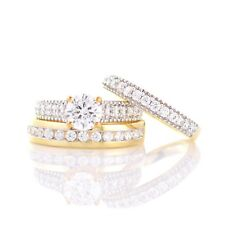 Diamond 10K Yellow Gold Trio His And Her Bridal Wedding Band Engagement Ring Set