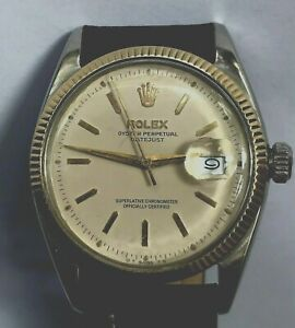 ROLEX OYSTER DATEJUST 6605,1956,25J AUTO,CAL1065.S/S with gold bezel,serviced.