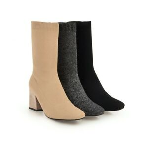 Ladies Fashion Sock Boots Pull on Block Heels Women's Combat Casual Shoes NEW