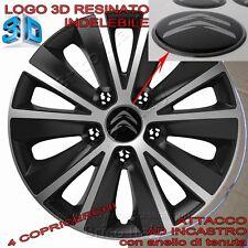 """4 Copricerchi Calotte Borchie Raptor 15"""" pollici Logo Resinato 3D Citroen"""