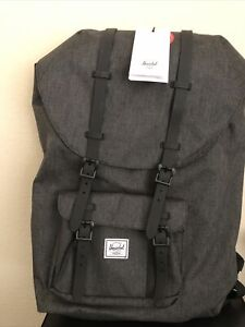 Herschel Little America Unisex Large Black Crosshatch Polyester Casual Dayback