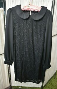 Dangerfield Ladies Collared Long Sleeve Black Lace Lined Dress Emo Goth Size 8