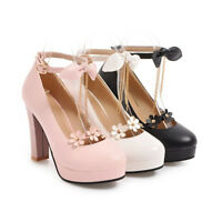 Women's Ankle Strap Block High Heels Floral Wedding Round Toe Pumps Party Shoes