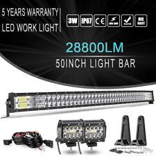 50Inch 288W Curved 4D LED Light Bar Flood Spot Combo For Jeep Boat Wrangler JK
