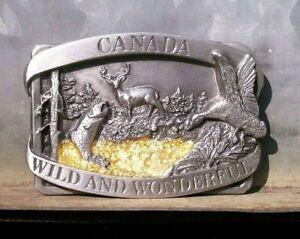 Vintage 1985 Pewter ~ CANADA Wild and Wonderful ~ Men's BELT BUCKLE by Siskiyou
