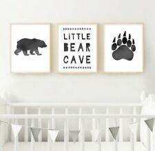 Little Bear Cave Neutral Nursery Prints | Woodland Theme Nursery Art | Grey Gray