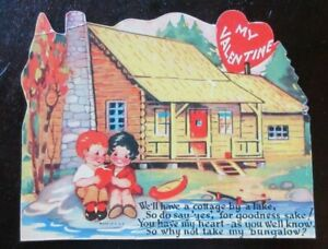 Vintage Used Die Cut Valentine Card CABIN AT THE LAKE COTTAGE BUNGALOW LOG HOME