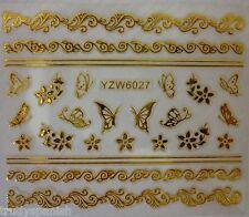 3D Nail Art Stickers Decals Metallic Gold Lace Flowers Butterflies Gel Polish