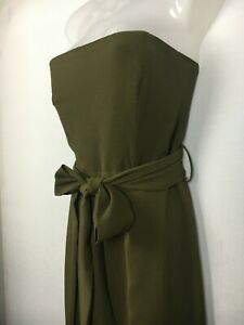 Jumpsuit size 12 Style State khaki green slit legs belted strapless sexy party M