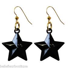 "Tarina Tarantino Starlet ""Astor"" Black Star Pierced Earrings ~Made in California"