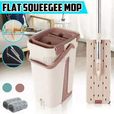 360° Flat Squeeze Microfiber Mop and Bucket Set Home Floor Cleaning With 2