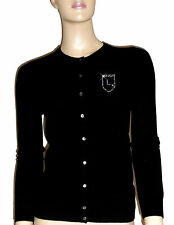 LUXE OH `DOR® 100% Cashmere Cardigan Strickjacke black schwarz Kristalle 34 XS/S