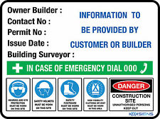 OWNER BUILDER SIGN -- 600 X 450MM -- METAL SIGN -- CONSTRUCTION SITE SAFETY SIGN